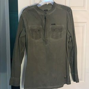 Army green 3/4 button shirt